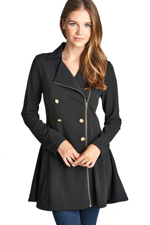 Asymmetric Zipper Peacoat Jackets- Niobe Clothing
