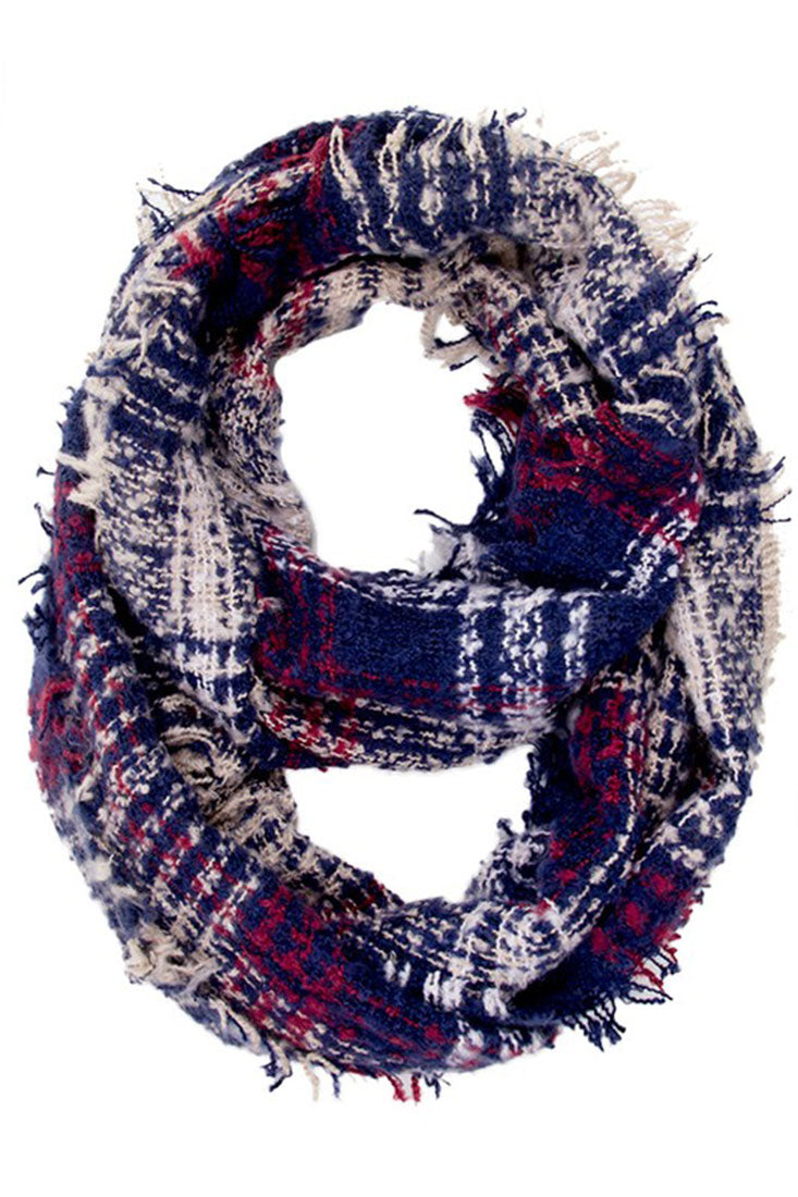 Navy Plaid Fray Infinity Loop Scarf