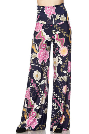 High Waist Fold Over Wide Leg Palazzo Pants (Pink Navy Carnation)
