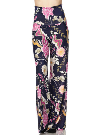 High Waist Fold Over Wide Leg Palazzo Pants (Pink Navy Carnation) pants- Niobe Clothing