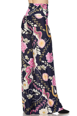 High Waist Fold Over Wide Leg Palazzo Pants (Pink Navy Carnation)-pants-Niobe Clothing