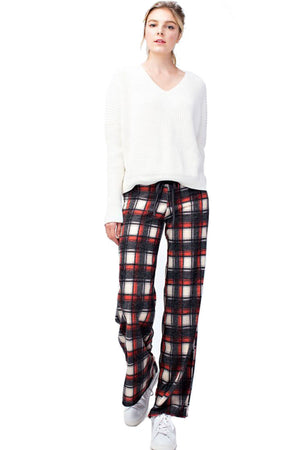 Black Red Checkered Plaid Casual Lounge Pants pants- Niobe Clothing