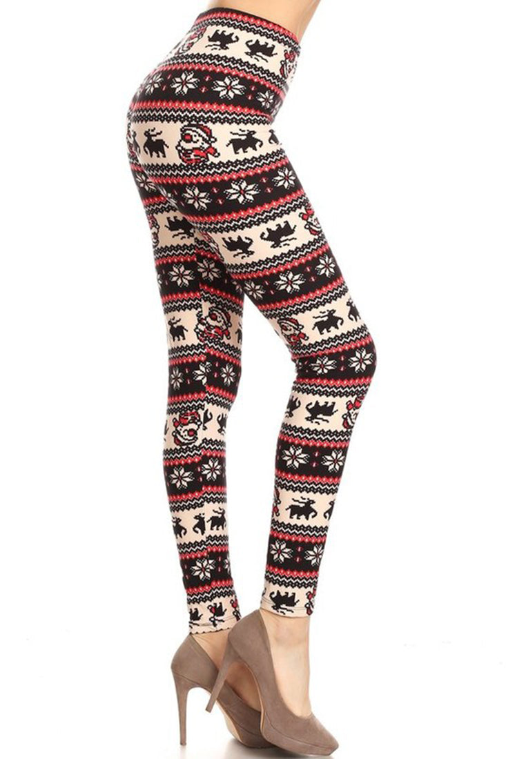 Red Santa Reindeer Design Leggings leggings- Niobe Clothing
