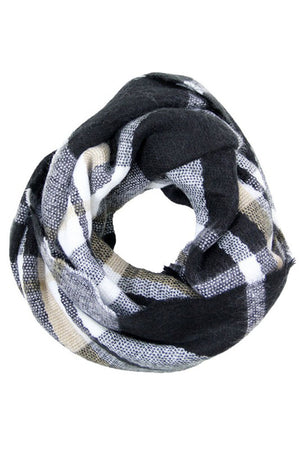 Black Plaid Multicolor Infinity Loop Scarf Scarves- Niobe Clothing