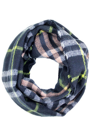 Navy Plaid Multicolor Infinity Loop Scarf