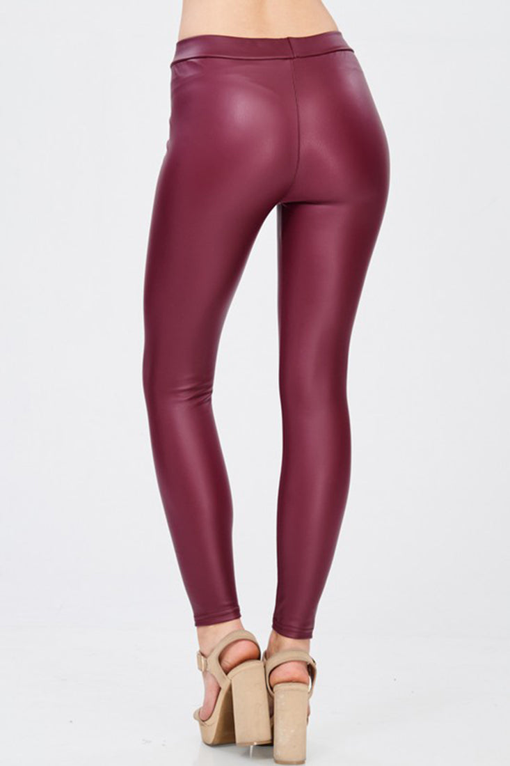 Solid Faux Leather Gloss Matte Leggings leggings- Niobe Clothing