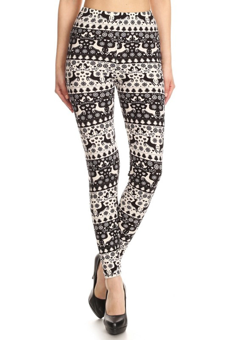 Black White Christmas Design Leggings leggings- Niobe Clothing
