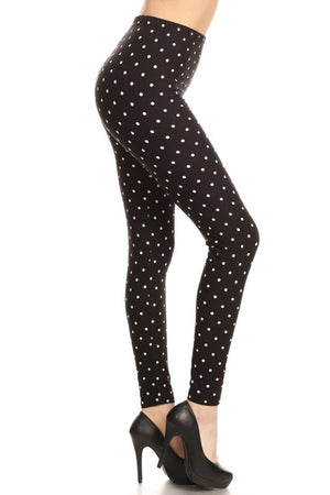 Black Polka Dot Graphic Lined Leggings leggings- Niobe Clothing