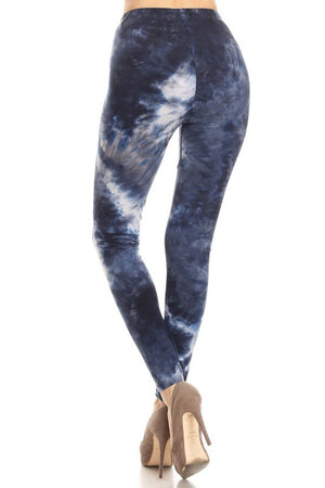 Deep Ocean Tie Dye Graphic Print Lined Leggings leggings- Niobe Clothing
