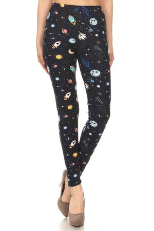 Space Man Graphic Print Lined Leggings leggings- Niobe Clothing