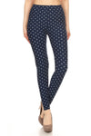Navy Polka Dot Graphic Print Lined Leggings