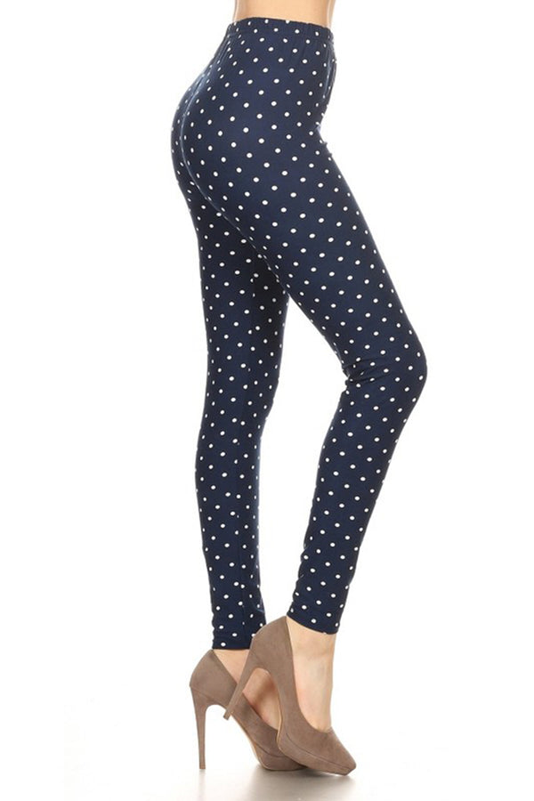 Navy Polka Dot Graphic Print Lined Leggings leggings- Niobe Clothing