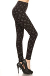 Black Cat Graphic Print Lined Leggings