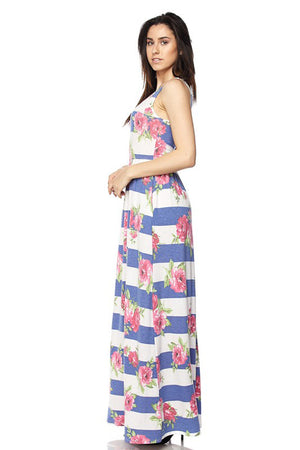 Blue Stripe Floral Maxi Dress dress- Niobe Clothing