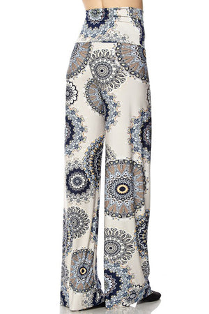High Waist Fold Over Wide Leg Palazzo Pants (Cream Geo) pants- Niobe Clothing