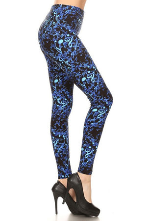 Blue Musical Notes Graphic Print Lined Leggings leggings- Niobe Clothing