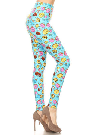 Blue Donuts Leggings leggings- Niobe Clothing