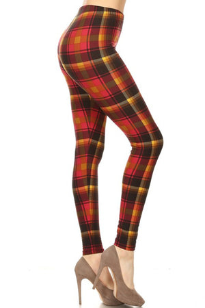 Red Sun Plaid Design Leggings