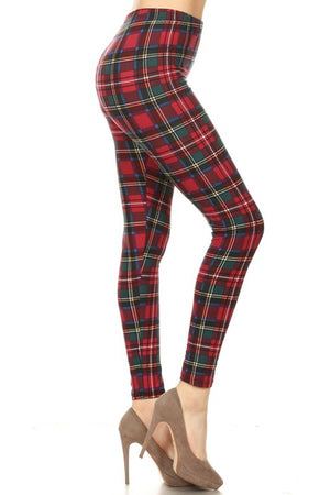 Red Hunter Green Plaid Design Leggings