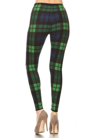Navy Green Plaid Graphic Fashion Lined Leggings