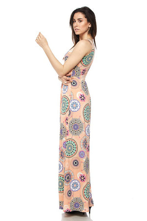 Peach Tribal Geo Maxi Dress dress- Niobe Clothing
