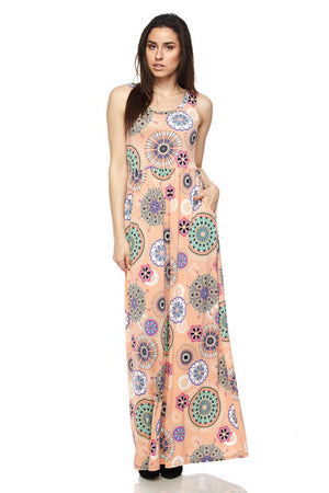 Peach Tribal Geo Maxi Dress-dress-Niobe Clothing