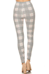 Light Multi Plaid Houndstooth Graphic Lined Leggings leggings- Niobe Clothing