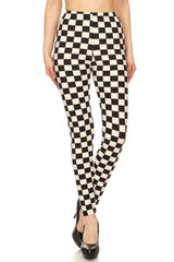 Black White Check Design Leggings leggings- Niobe Clothing