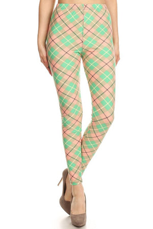 Green Pastel Argyle Design Leggings leggings- Niobe Clothing