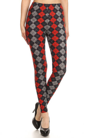 Black Red Grey Argyle Design Leggings leggings- Niobe Clothing