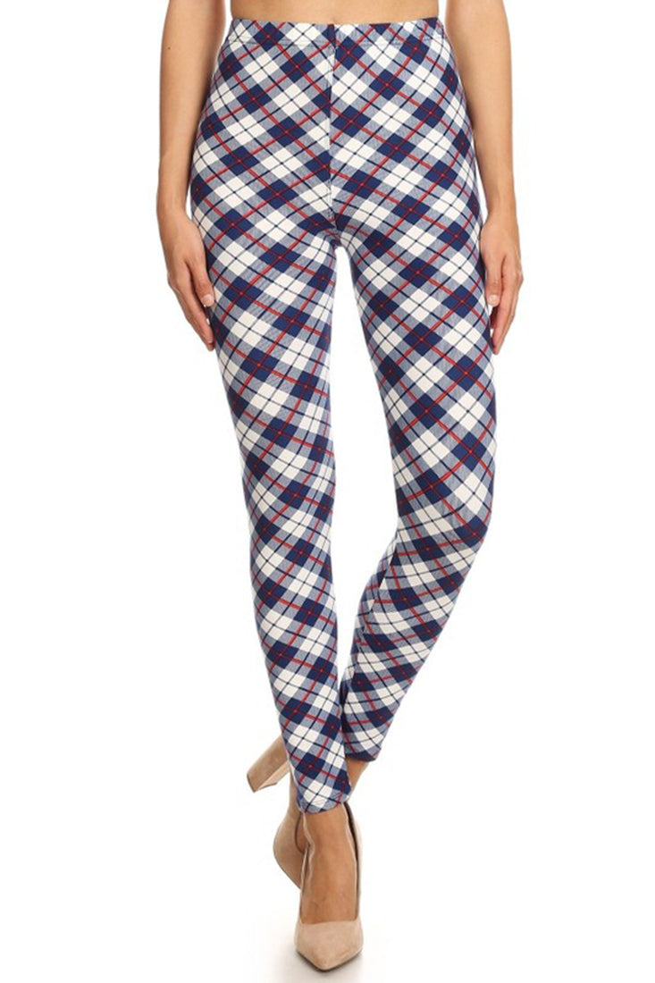 Navy White Plaid Design Leggings leggings- Niobe Clothing