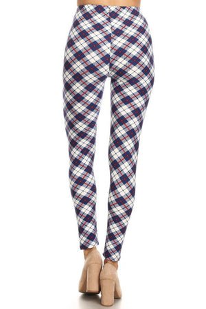 Navy White Plaid Design Leggings