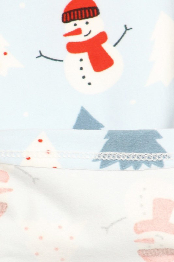 Light Blue Snowman Design Leggings leggings- Niobe Clothing