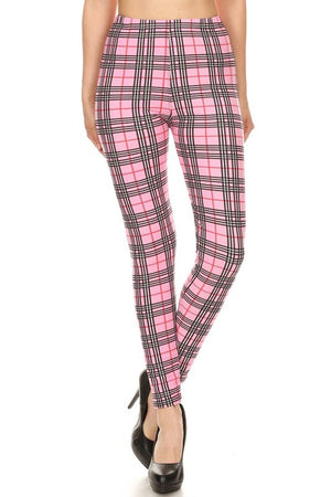Multi Pink Plaid Design Leggings