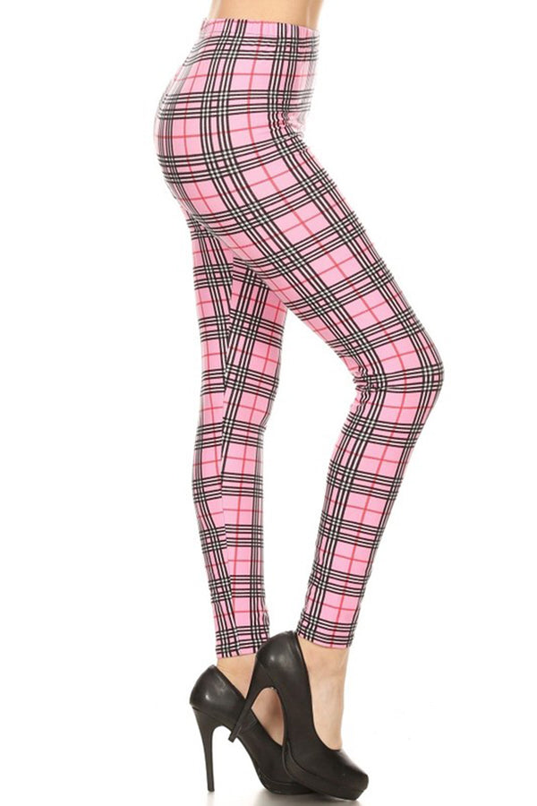 Multi Pink Plaid Design Leggings leggings- Niobe Clothing