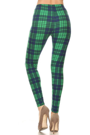 Dk Blue Green Plaid Design Leggings leggings- Niobe Clothing