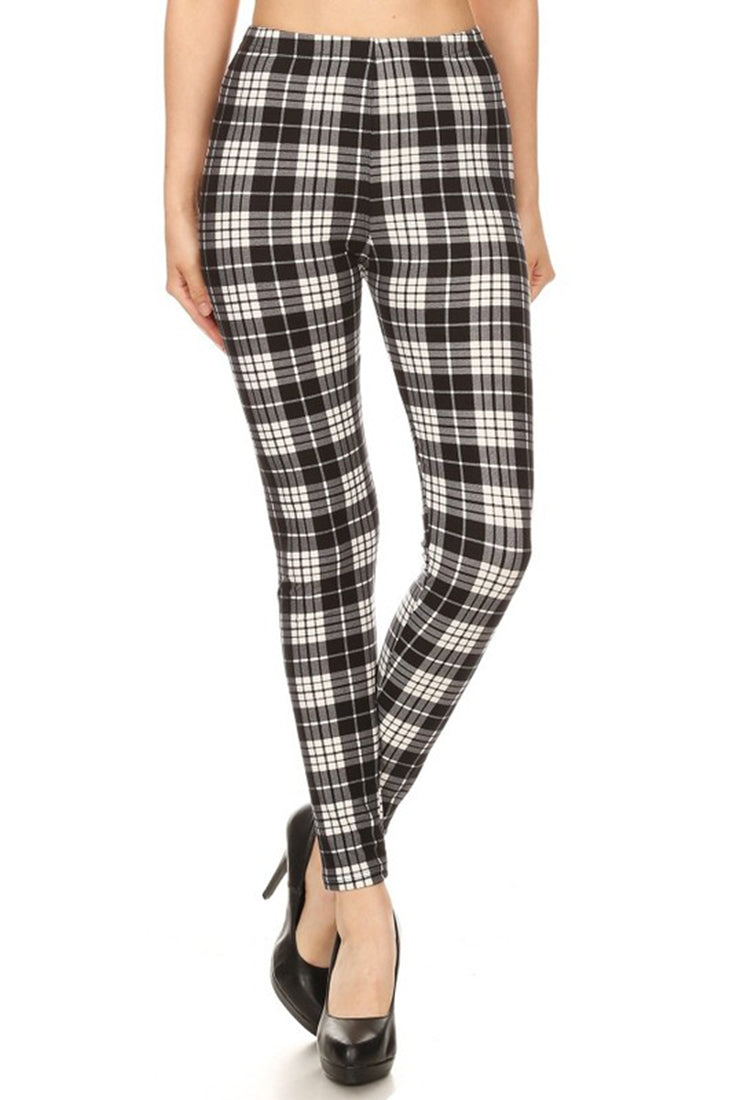 Black White Plaid-1 Graphic Fashion Lined Leggings leggings- Niobe Clothing