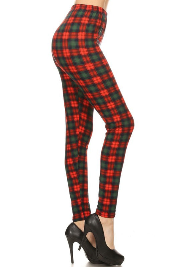 Red Green Plaid Design Leggings leggings- Niobe Clothing