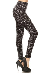 Black Stars Design Leggings leggings- Niobe Clothing