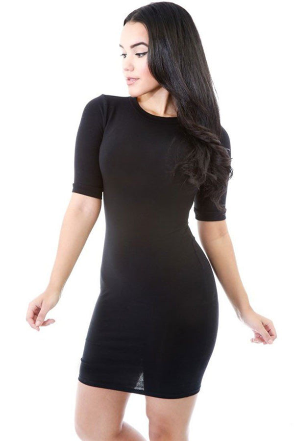 Half Sleeve Solid Color Bodycon Midi Dress dress- Niobe Clothing