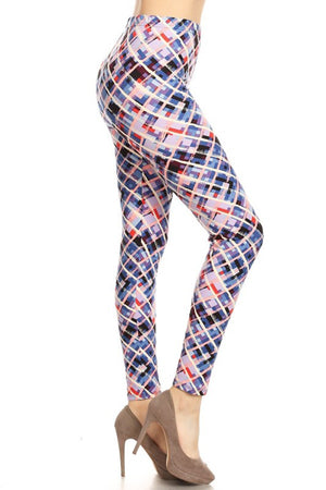 Blue Pastel Cross Design Leggings
