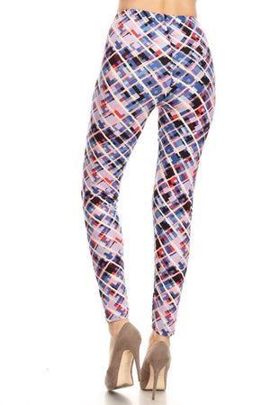 Blue Pastel Cross Design Leggings leggings- Niobe Clothing