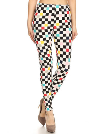 Black White Multicolor Checkers Design Leggings leggings- Niobe Clothing
