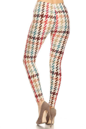 Multicolor Block Puzzle Design Leggings