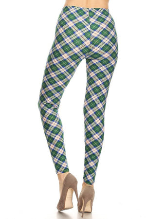Blue Green Plaid Design Leggings leggings- Niobe Clothing