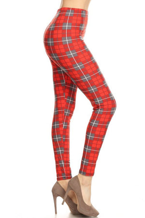 Red Grey Checkered Plaid Design Leggings