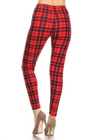 Navy Red Plaid Design Leggings