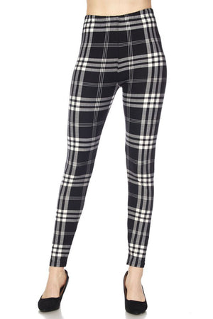 Black Plaid Design Leggings leggings- Niobe Clothing