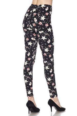 Snowman and Candy Canes Design Leggings