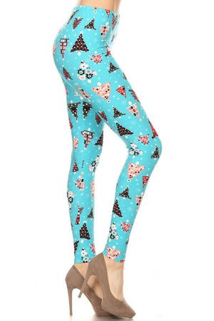 Aqua Christmas Tree Design Leggings leggings- Niobe Clothing